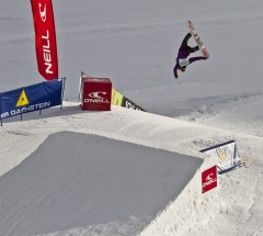 Aimee Fuller underflipping her way to first place at the O'Neill Pleasure Jam 2012. Photo: Roland Haschka