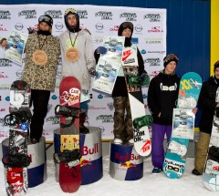 O'Neill Pleasure Jam 2012, mens podium: 1. Eric Beauchemin 2. Werni Stock 3. Jamie Nicholls. Photo: Roland Haschka