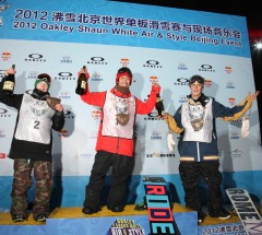 Podium at the Oakley Shaun White Air & Style Beijing: Yuki Kadono, Peetu Piiroinen and Stale Sandbech