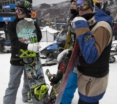 Gjermund Braaten, Chas Guldemond and Sebastien Toutant waiting for the scores for drop - X Games Aspen 2013 - Photo by Josh Gunter / ESPN Images