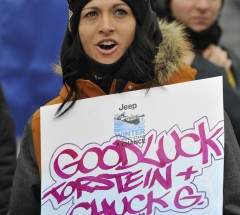 Possum Torr cheering for Torstein Horgmo and Chas Guldemond - X Games Aspen 2013 - Photo by Eric Bakke / ESPN Images