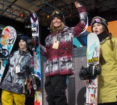 Womens Slopestyle podium 1. Jamie Anderson 2. Sarka Pancochova 3. Spencer O'Brien - X Games Aspen 2013 - Photo by Rich Arden / ESPN Images