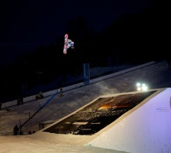 3rd place finisher Emil Ulsletten at the O'Neill Evolution 2013 Davos Final Big Air - Photo: David Birri