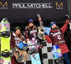 Womens Slopestyle podium at the 5Star Grand Prix Copper 1. Jamie Anderson 2. Kjersti Buaas 3. Isabel Derungs - Photo: Sarah Brunson