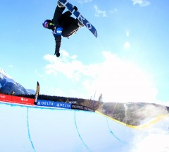 Winner Nathan Johnstone going massive during the Sprint Grand Prix Halfpipe finals - Photo: Sarah Brunson