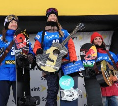 Sprint Grand Prix Copper Women Halfpipe podium: 1. Torah Bright 2. Kelly Clark 3. Queralt Castellet - Photo: Sarah Brunson