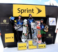 Sprint Grand Prix Copper Halfpipe podium: 1. Nathan Johnstone 2. Luke Mitrani 3. Louie Vito - Photo: Sarah Brunson