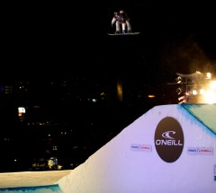 Kalle Jarvilehto at the O&#039;Neill Evolution 2013 Davos Final Big Air - Photo: David Birri