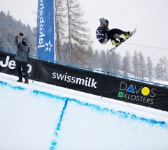 2nd place finisher Kyle Mack at the O'Neill Evolution 2013 Davos Mens Halfpipe Finals - Photo: David Birri