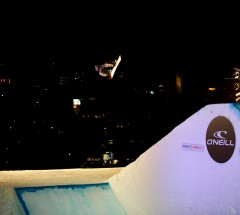 2nd place finisher Kyle Mack at the O'Neill Evolution 2013 Davos Final Big Air - Photo: David Birri