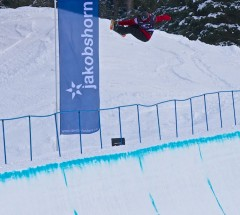 Gian Simmen boosting a fs air out of the Halfpipe at the O'Neill Evolution