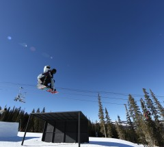 Madwax rider Tim Herbert during Slopestyle qualifiers at the Sprint Grand Prix at Copper.