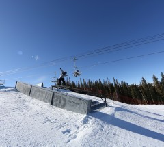 Tor Lundstrom on the rail section during Slopestyle qualifiers.