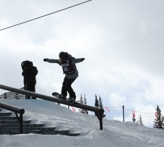 Urska Pribosic nose pressing during the Grand Prix Copper Slopestyle finals