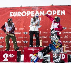 Women Podium at the Burton European Open: 1st Arielle Gold - 2nd Kelly Clark - 3rd Ellery Hollingsworth - Photo:Mueller