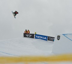 Christian Haller during Slopestyle semi-finals at the Burton European Open 2013. Photo: Laemmerhirt