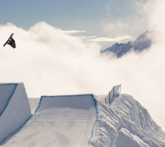 Sebastien Toutant during Slopestyle semi-finals in front of on one of the sickest backdrops. Photo: C. Mueller