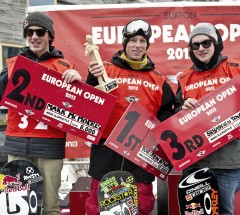Slopestyle podium at the Burton European Open 2013 - 1. Torstein Horgmo 2. Mark McMorris 3. Sebastien Toutant - Photo: Laemmerhirt