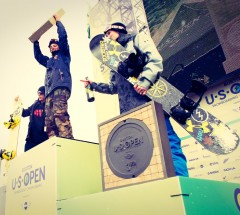Men&#039;s Podium of the Burton US Open 2013 - McMorris (CAN), Horgmo (NOR) &amp; Guldemond (USA)