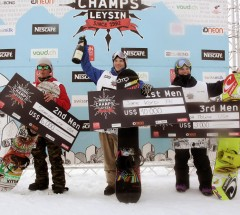 Men's podium at the Nescafe Champs: 1. Janne Korpi 2. Spencer Link 3. Scott Moline